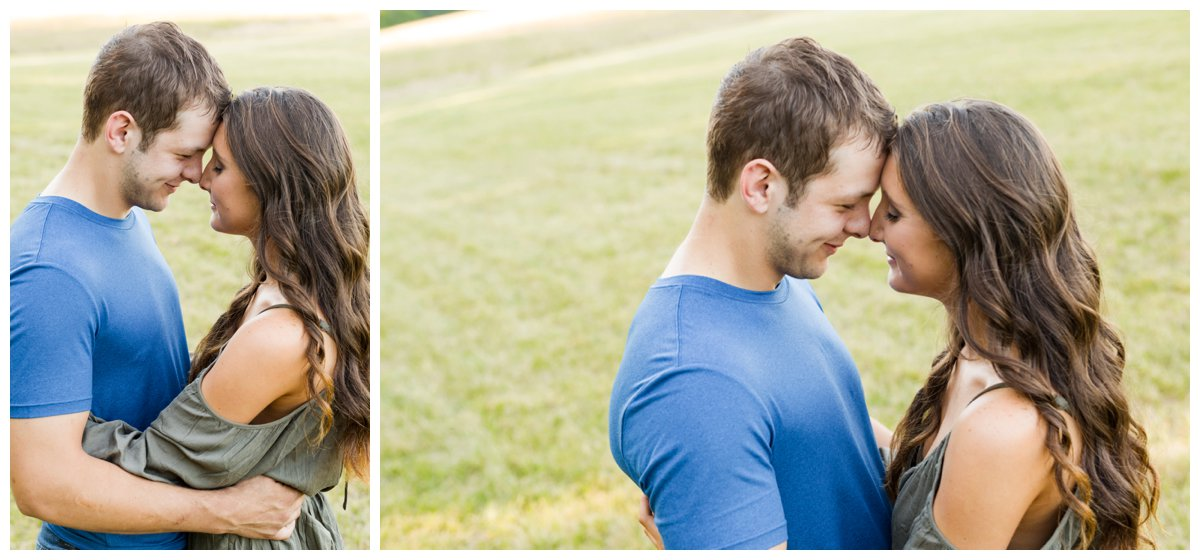Jerusalem Mills Bohemian Engagement Photography in a field loving each other