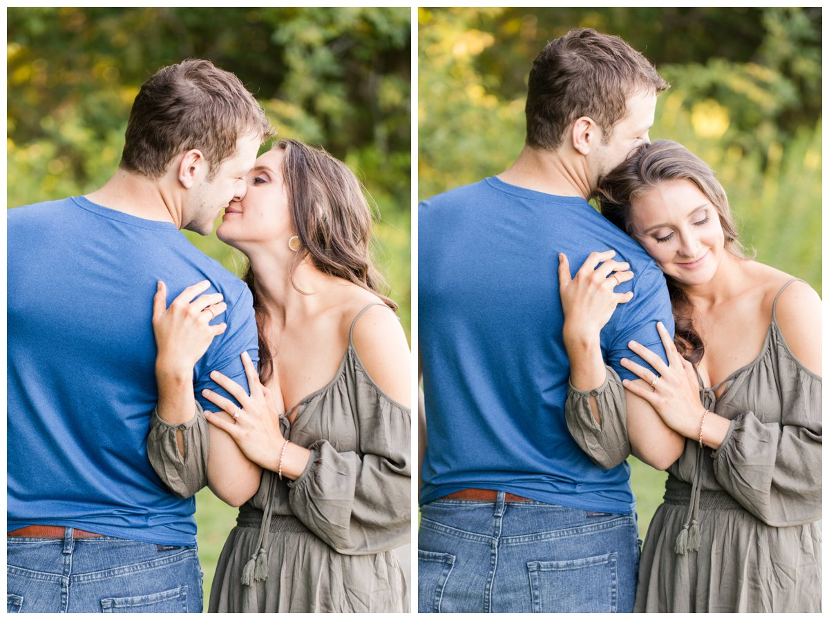 Jerusalem Mills Bohemian Engagement Photography on a dirt road snuggling with each other.
