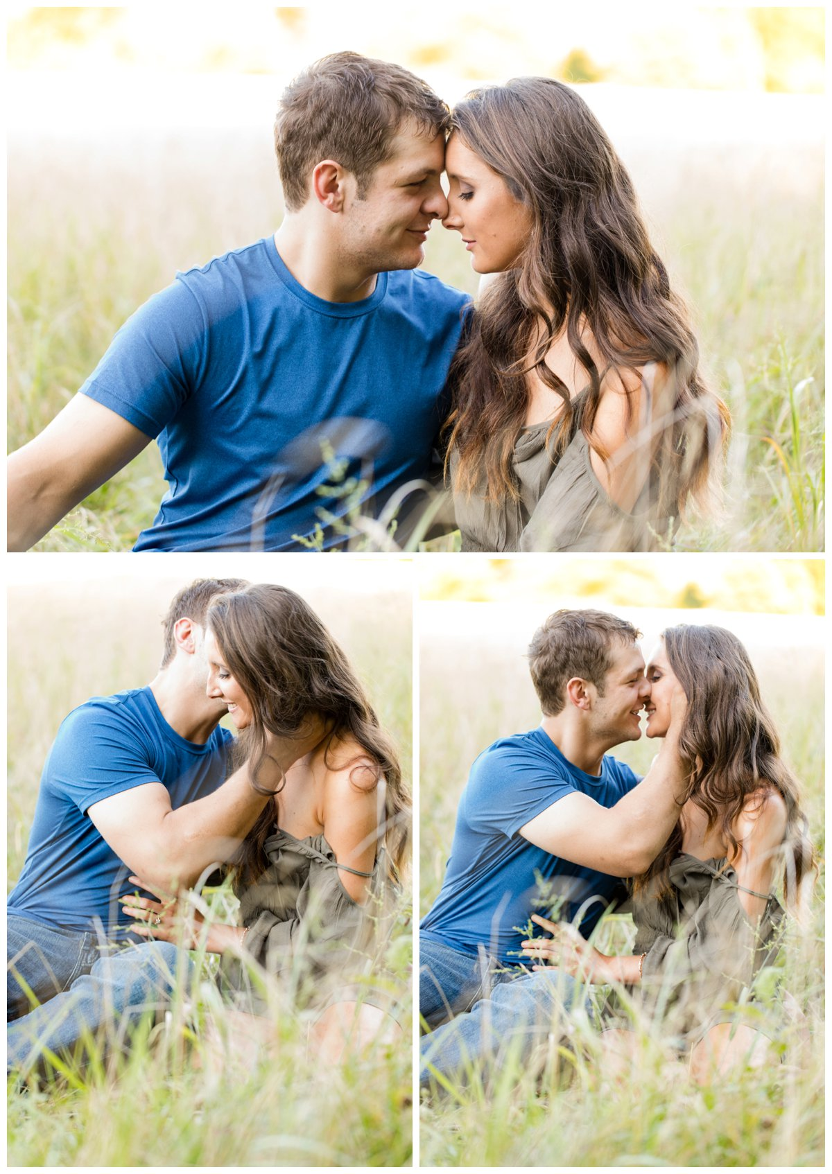 Jerusalem Mills Bohemian Engagement Photography sitting in the tall grass in a field while kissing.