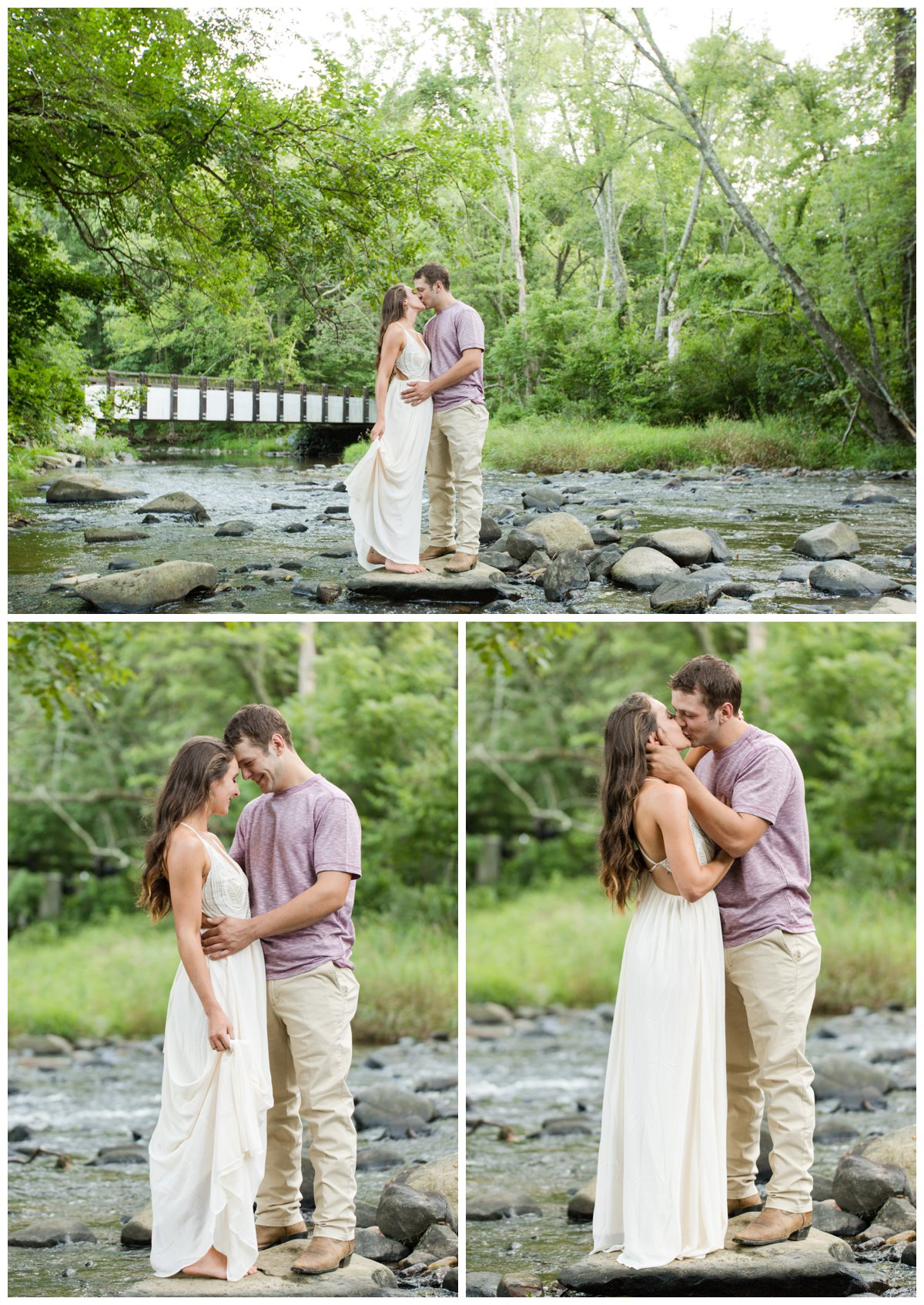 Jerusalem Mills Bohemian Engagement Photography in a stream in a white dress while kissing