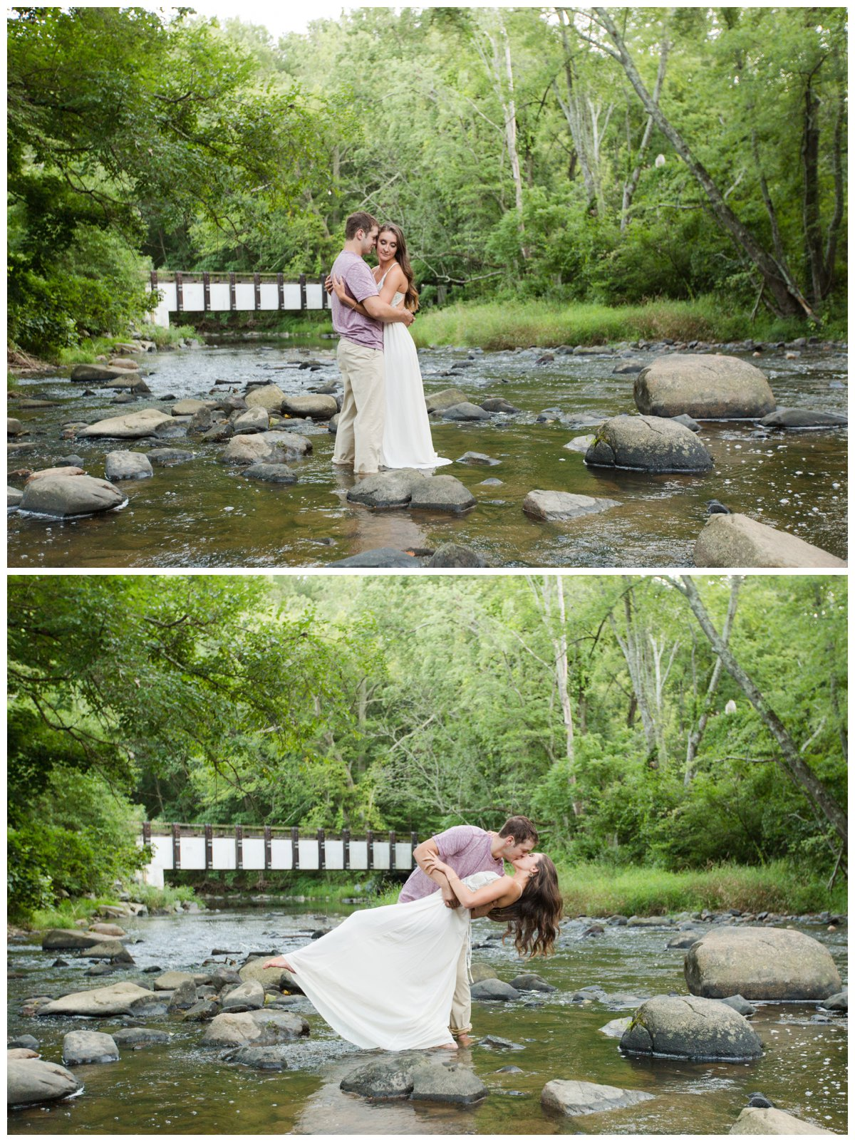 Jerusalem Mills Bohemian Engagement Photography in a stream in a white dress. He is dipping her and kissing her.
