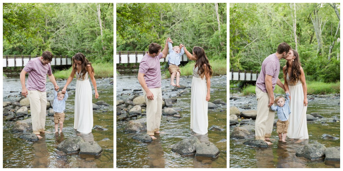 Jerusalem Mills Bohemian Engagement Photography in a stream with their son in a white dress.