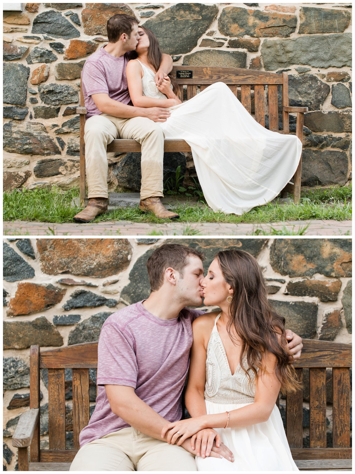 Jerusalem Mills Bohemian Engagement Photography on a bench