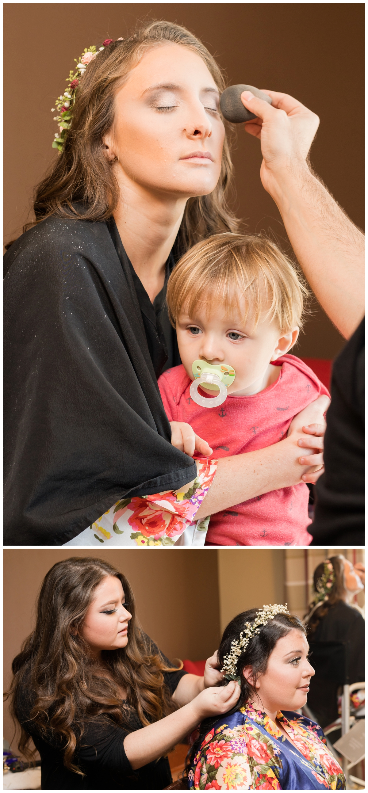 Bride having her make-up done for her wedding with her son on her lap