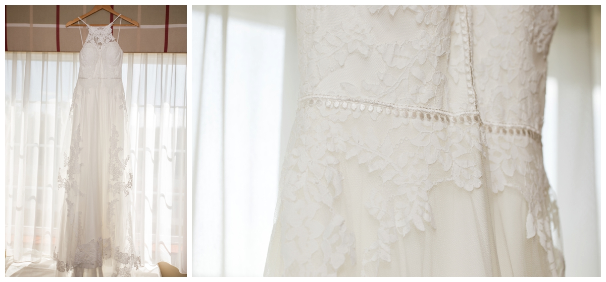 delicate lace wedding gown