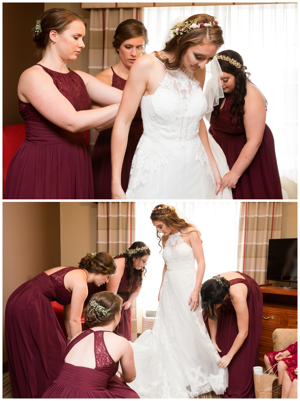 Bridesmaids helping the bride get in her gown