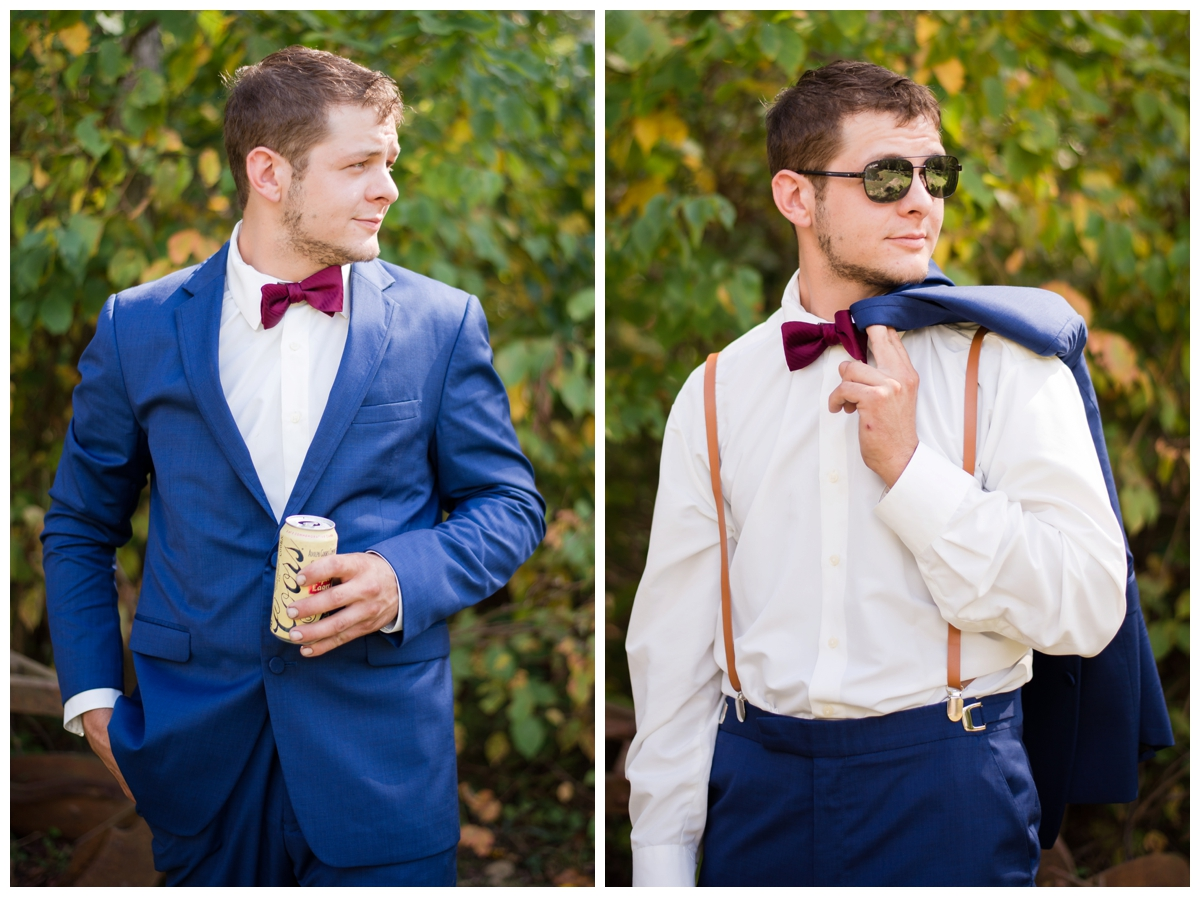 Groom portraits at a shabby chic outdoor rustic wedding in the woods