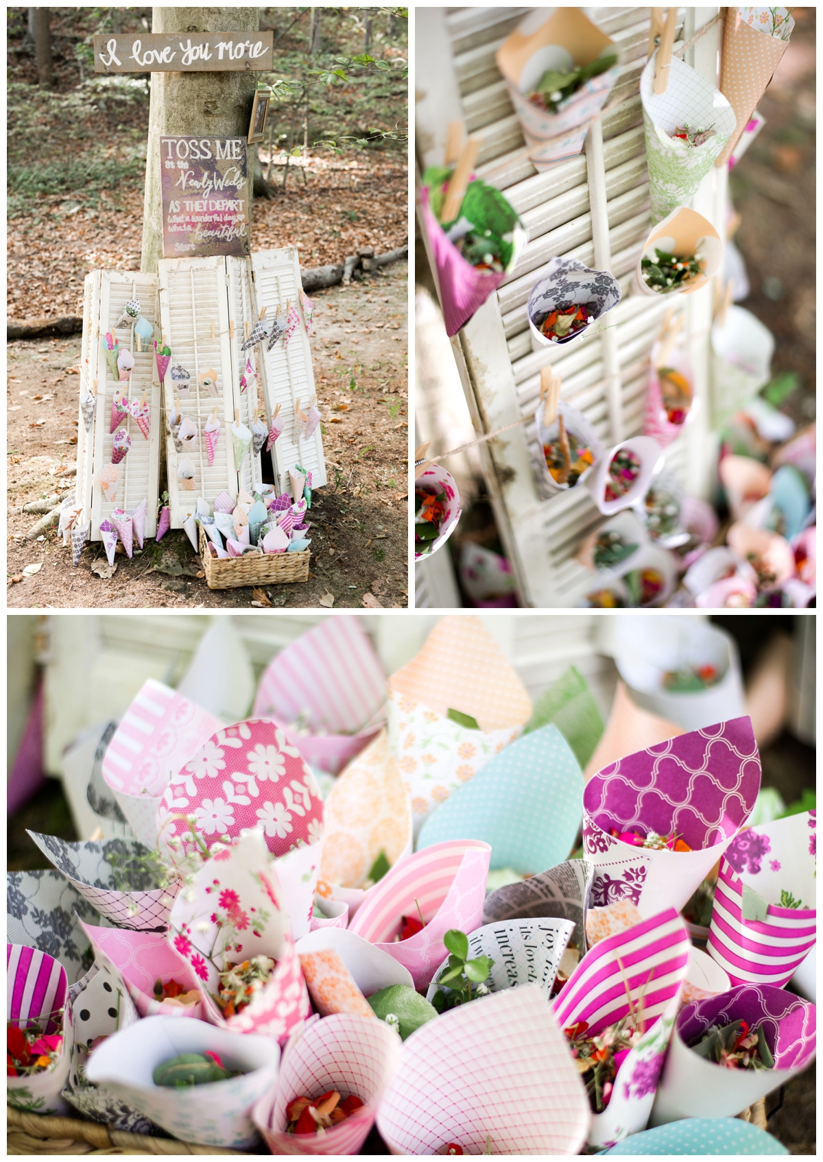 Paper flutes filled with flowers to throw after ceremony at a shabby chic outdoor rustic wedding in the woods