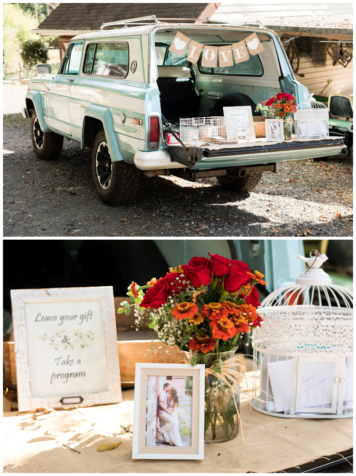 Vintage truck as the gift table at a shabby chic outdoor rustic wedding in the woods