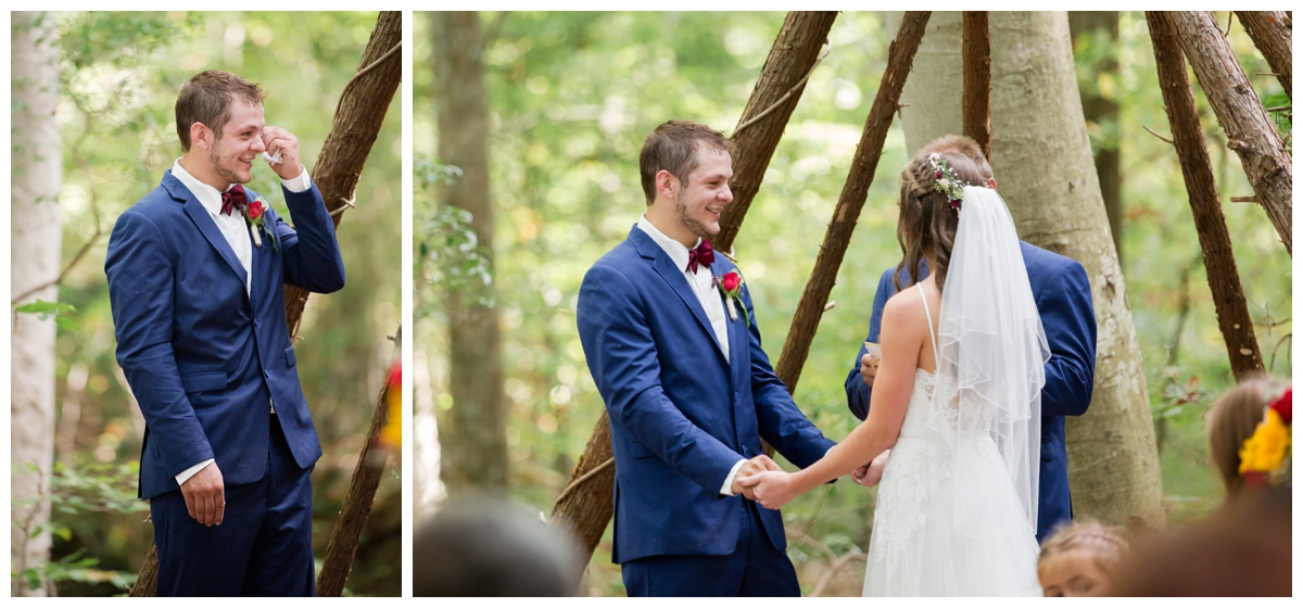 Ceremony photos at a shabby chic outdoor rustic wedding in the woods