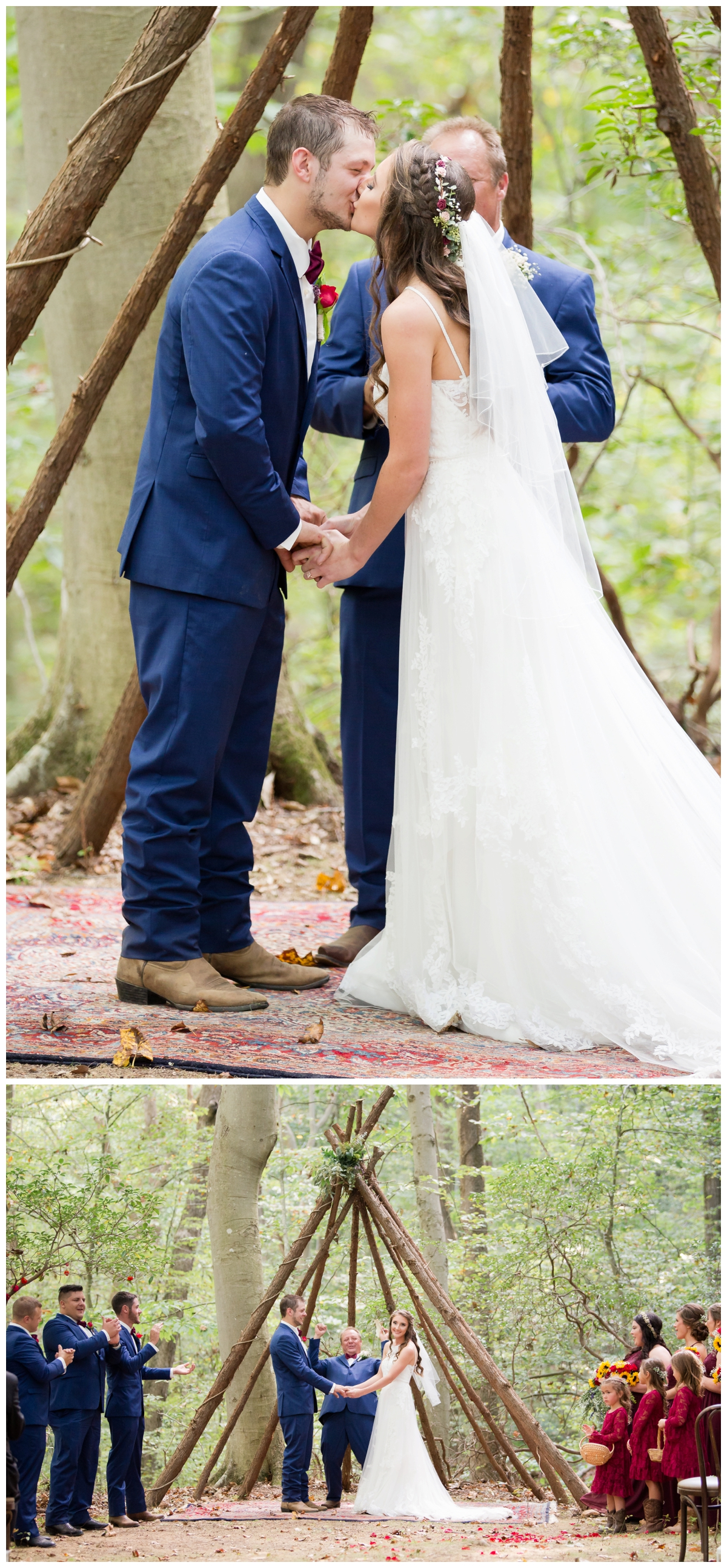 Ceremony photos at a shabby chic outdoor rustic wedding in the woods the kiss