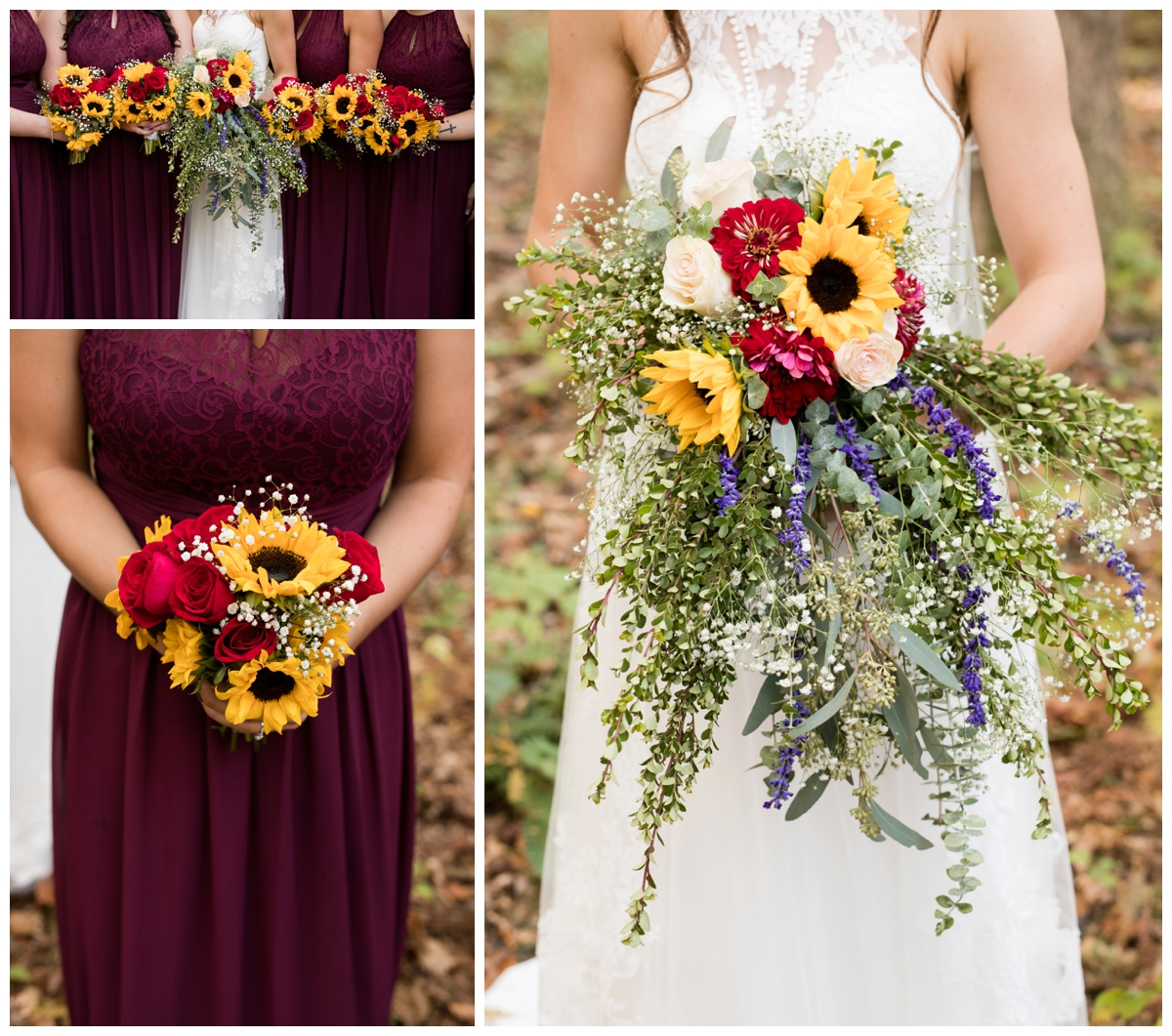 Floral photos at a shabby chic outdoor rustic wedding in the woods