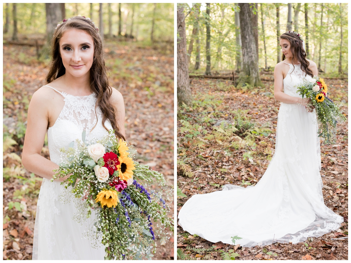 Bride portraits at a shabby chic outdoor rustic wedding in the woods
