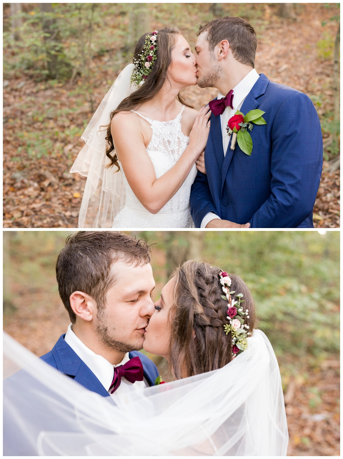Bride and Groom portraits at a shabby chic outdoor rustic wedding in the woods