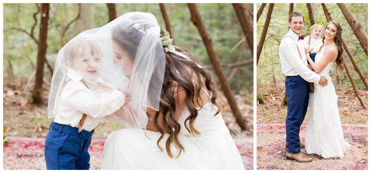 Bride and Groom portraits at a shabby chic outdoor rustic wedding in the woods Son under bride's veil