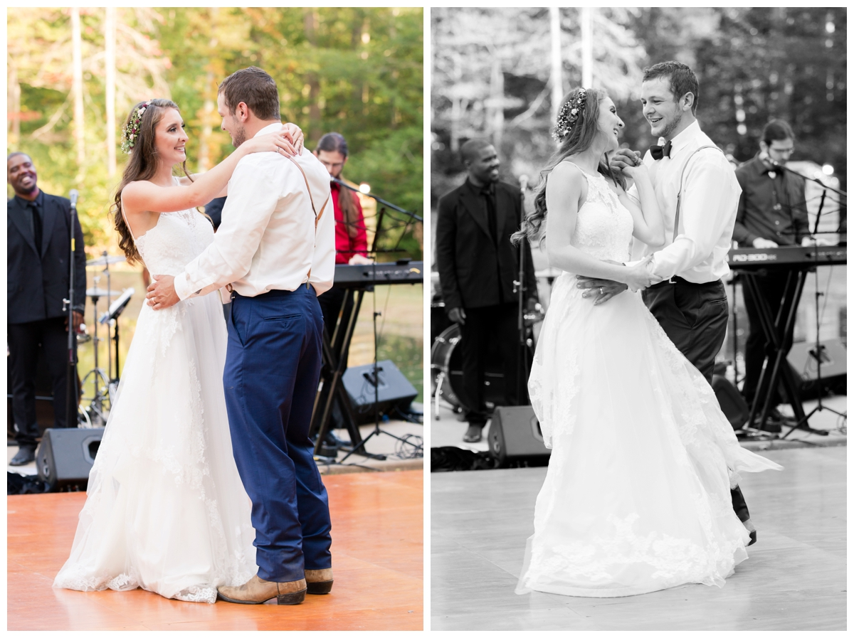 First dance photos at shabby chic rustic outdoor wedding in the woods by a pond