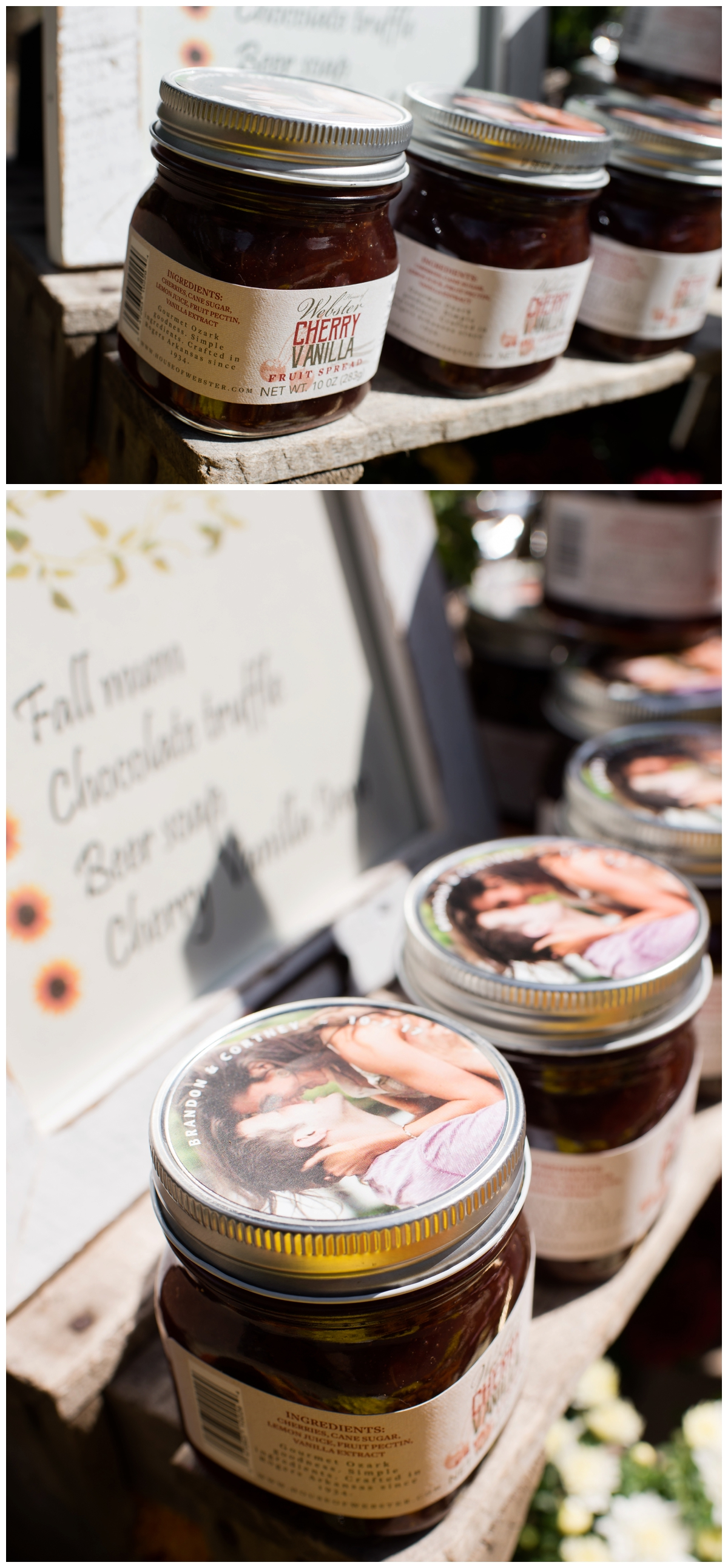 customized wedding favors at an outdoor fall wedding jam jars