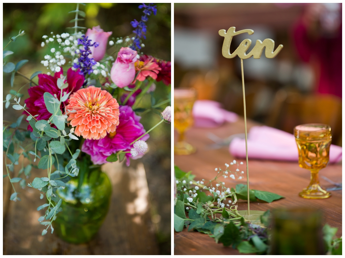 bohemian table decor and details for outdoor fall wedding