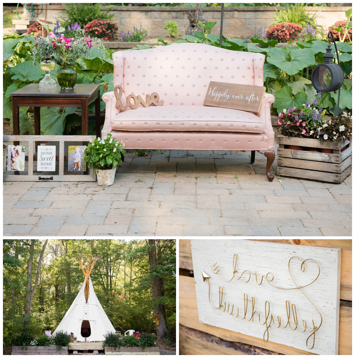 vintage seating area and large teepee at an outdoor shabby chic bohemian wedding