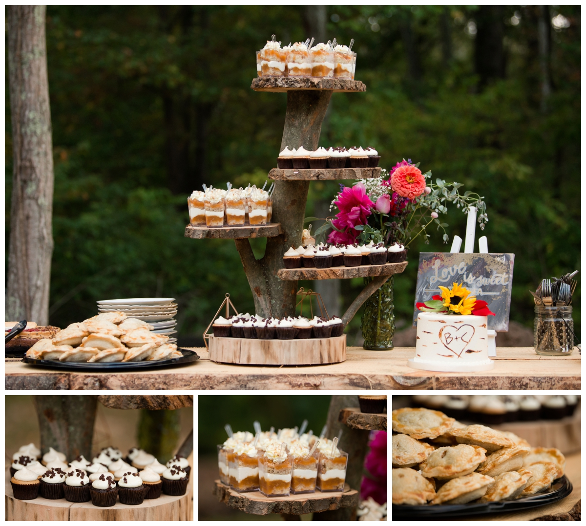 wedding cake and deserts displayed on wood slabs from a tree