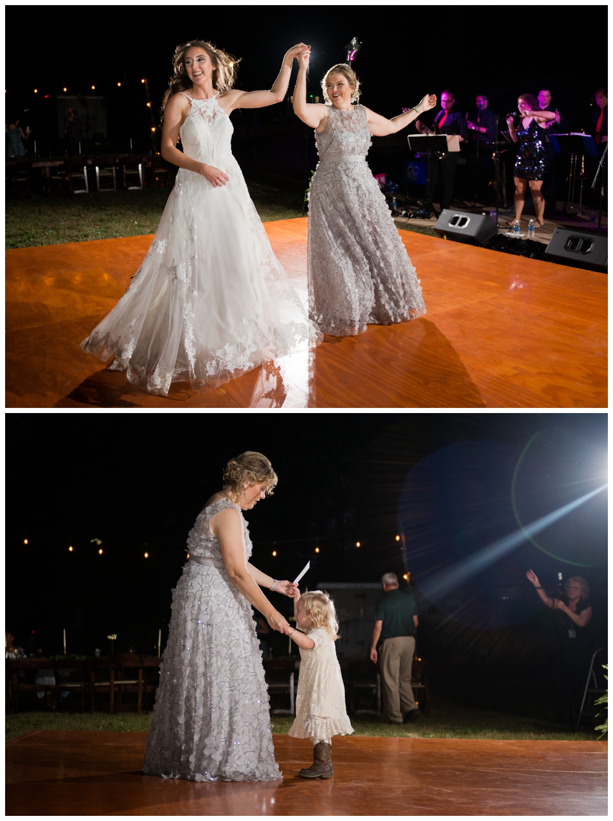 Bride dancing with guests on the dance floor at wedding outside