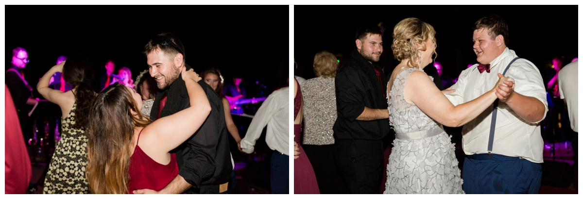 guests dancing on the dance floor at wedding outside