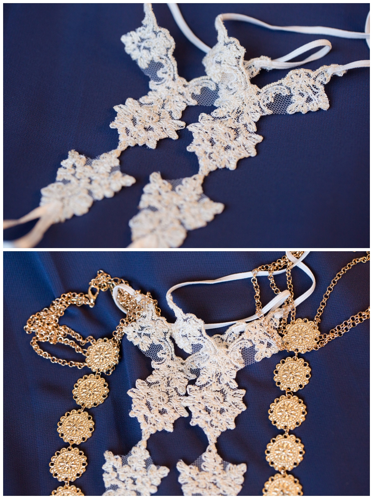 Bride and Bridesmaid foot jewelry in lieu of wearing shoes