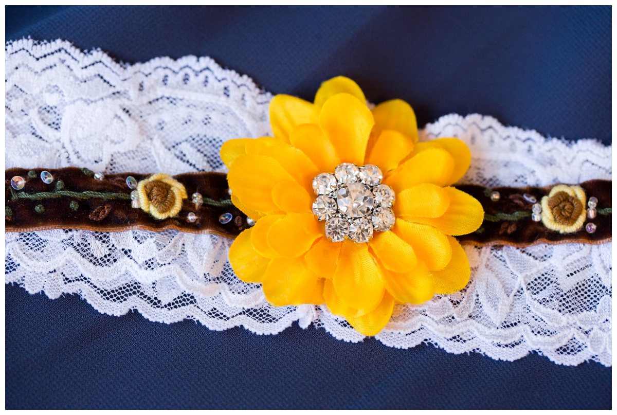 Bride's sunflower and lace guarder with bling.