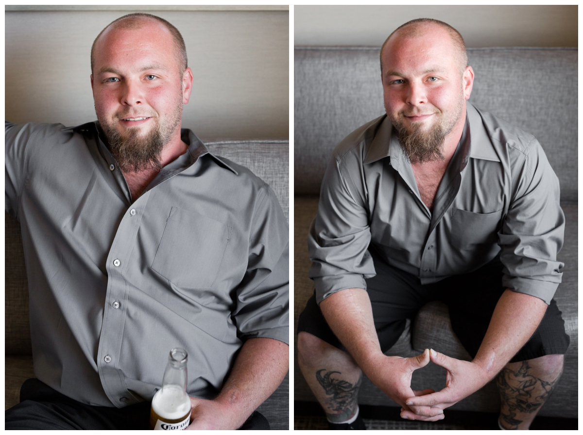 Groom portraits in a hotel before the ceremony