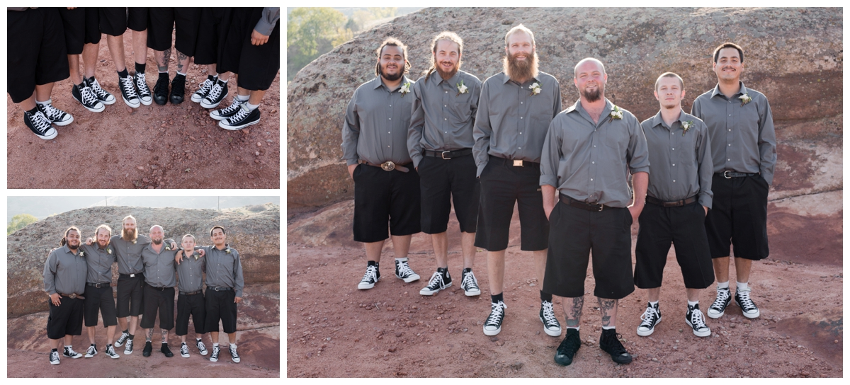 Groomsmen in the foothills of Colorado on the outskirts of Red Rocks
