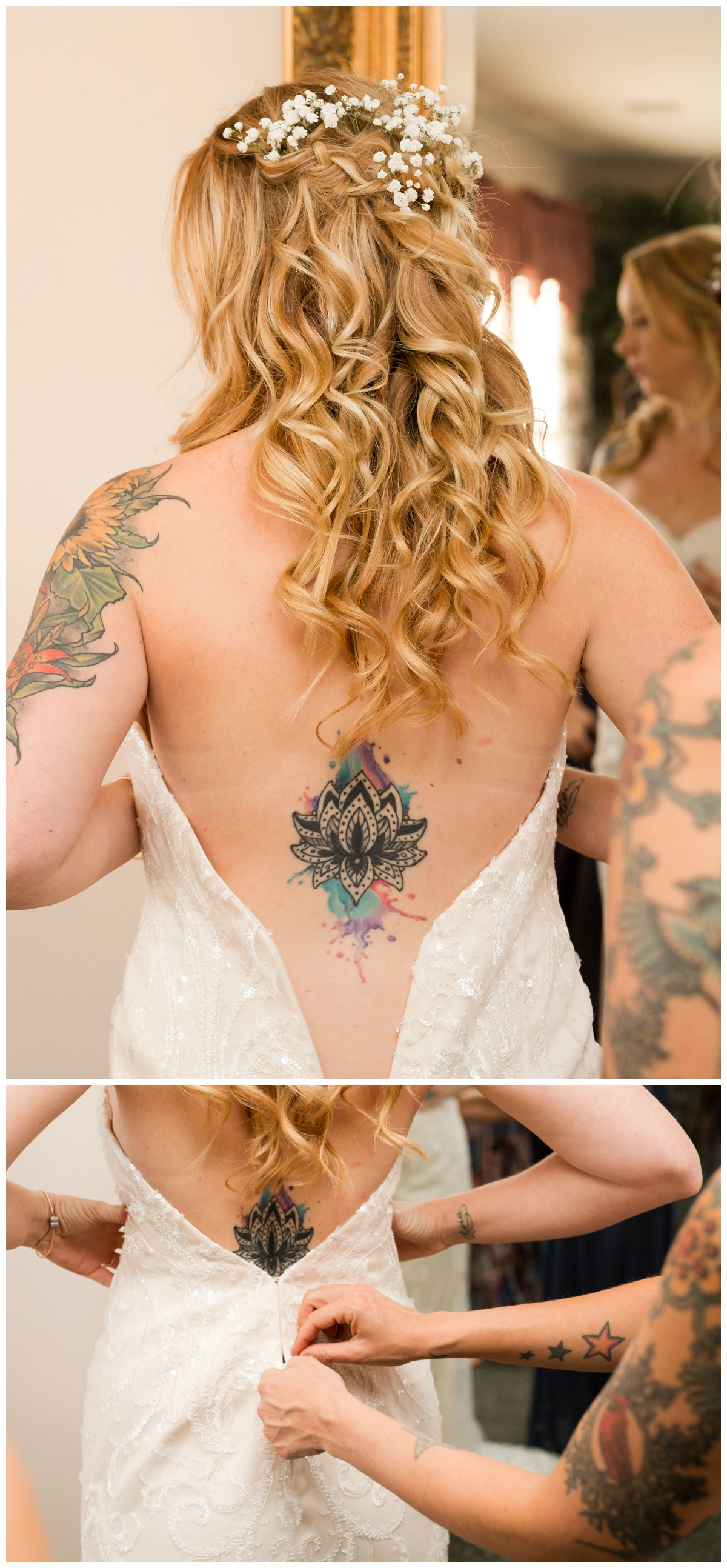 Bride with tattoos getting into her gown on her wedding day