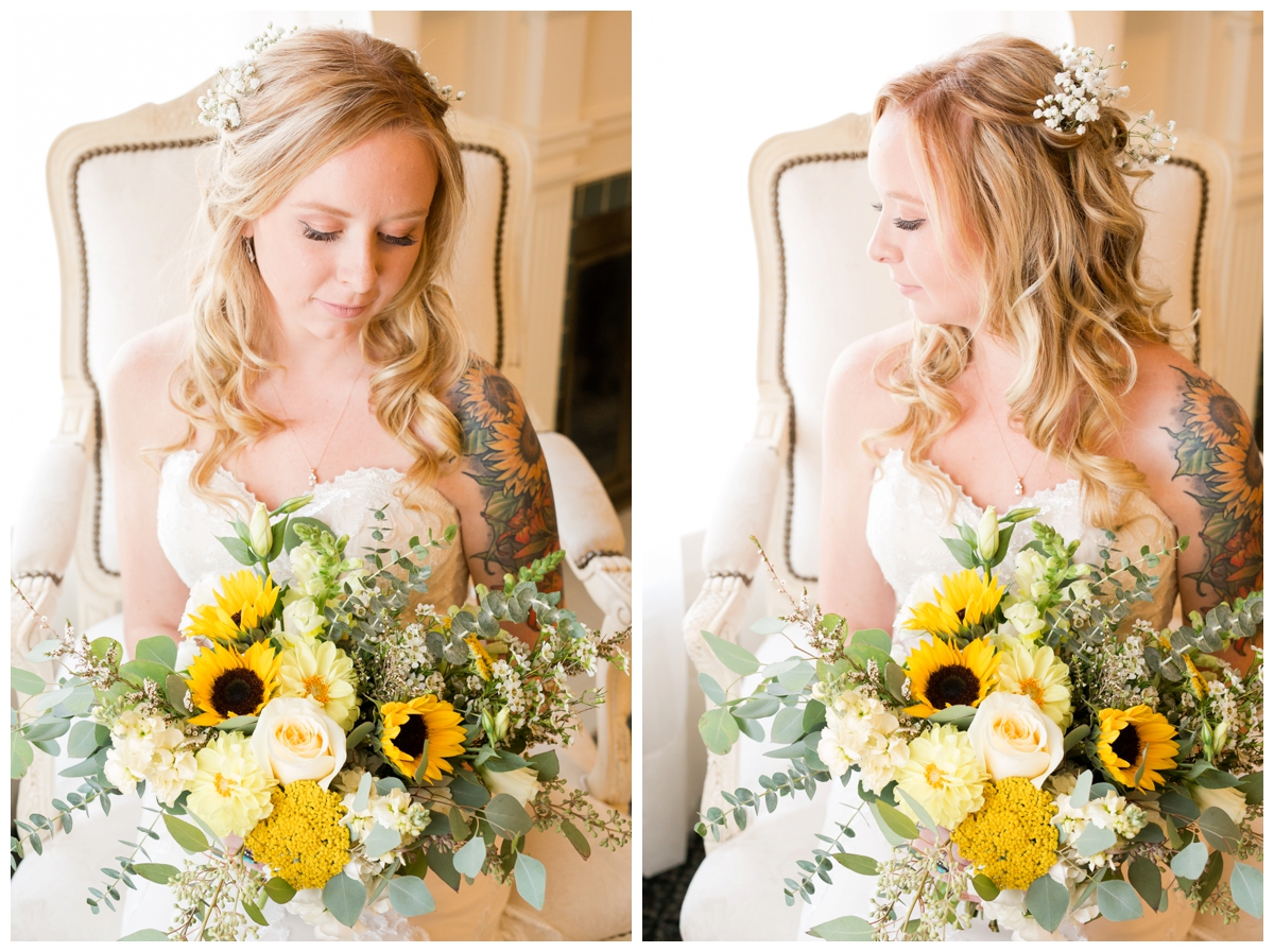 Bridal portraits with sunflower bouquet and tattoos