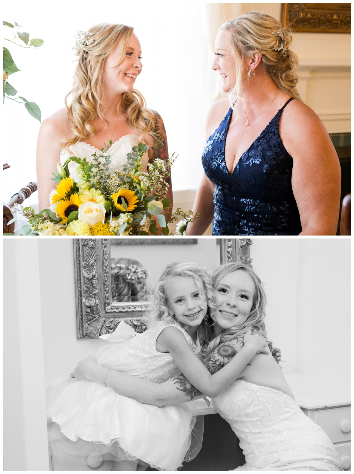 Three generations of women on the wedding day