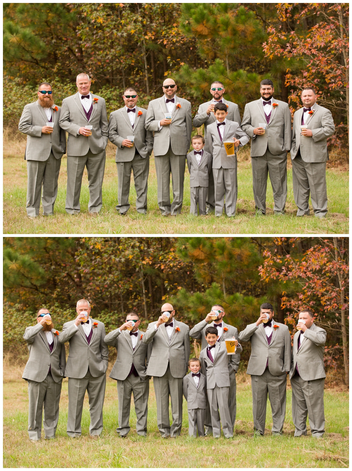 Groomsmen drinking beer while junior groomsmen holds the pitcher