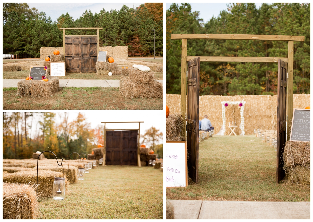 Fall wedding decor and details for ceremomy, rustic country theme.