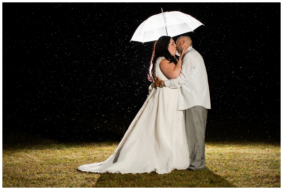 Couple in the rain at night under a clear umbrella