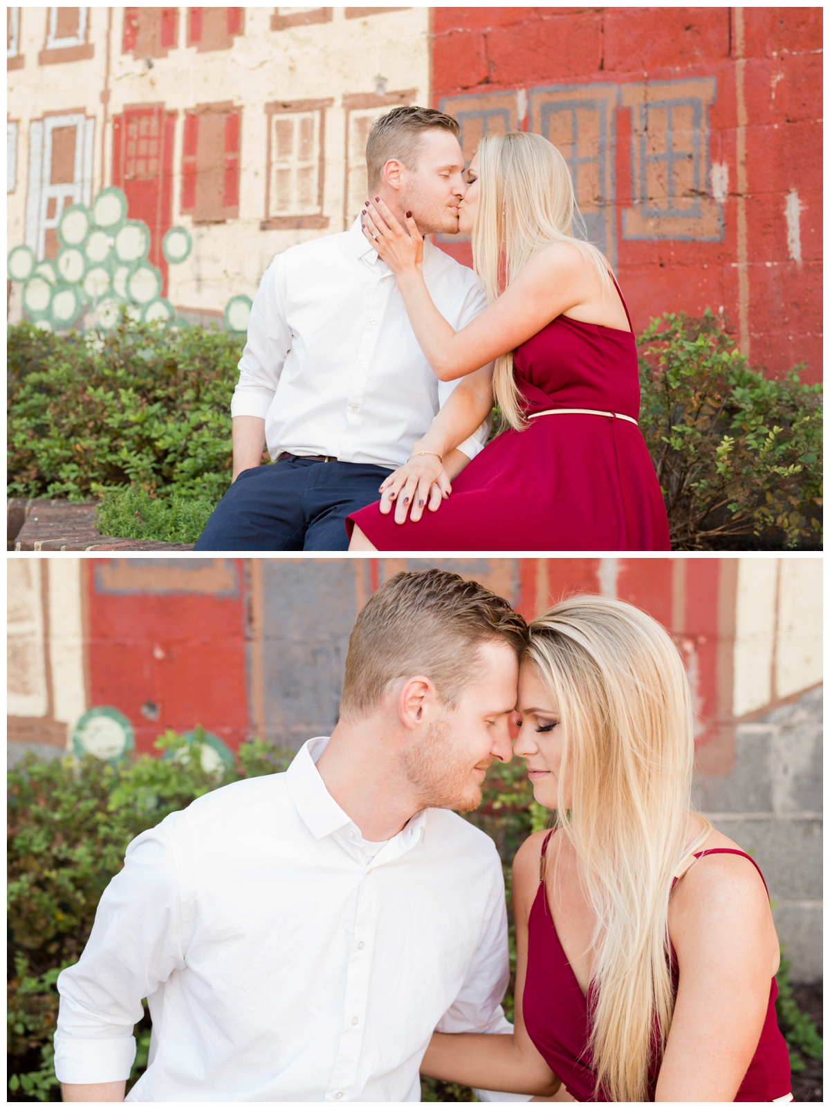 Ellicott City Engagement Photo by train bridge. Old Ellicott City. Sitting by the mural.