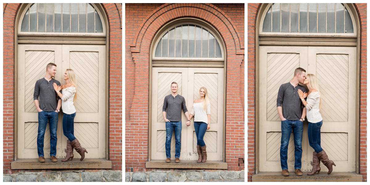 Ellicott City Engagement Photo by train bridge. Old Ellicott City. Brick wall by the train station
