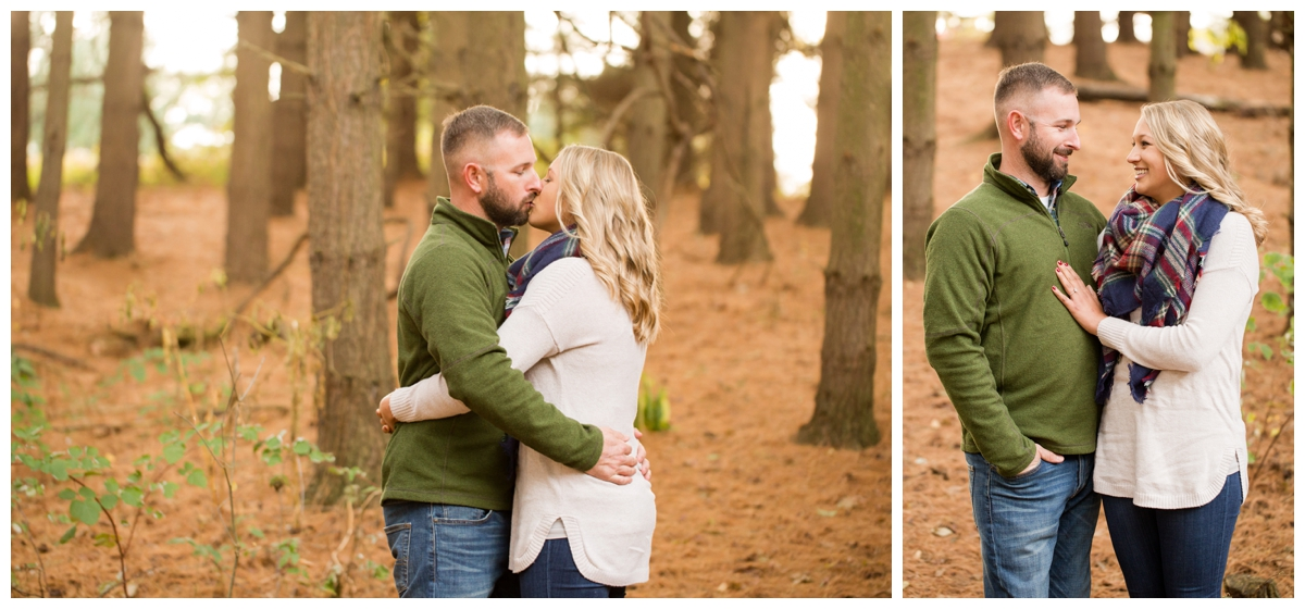 Fall Lake Hashawa engagement session. Couple kissing in the trees
