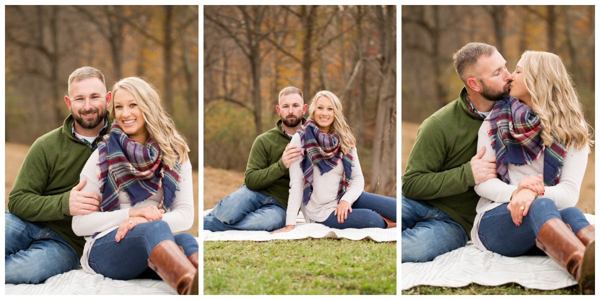 Fall Lake Hashawa engagement session. Couple sitting on a blanket