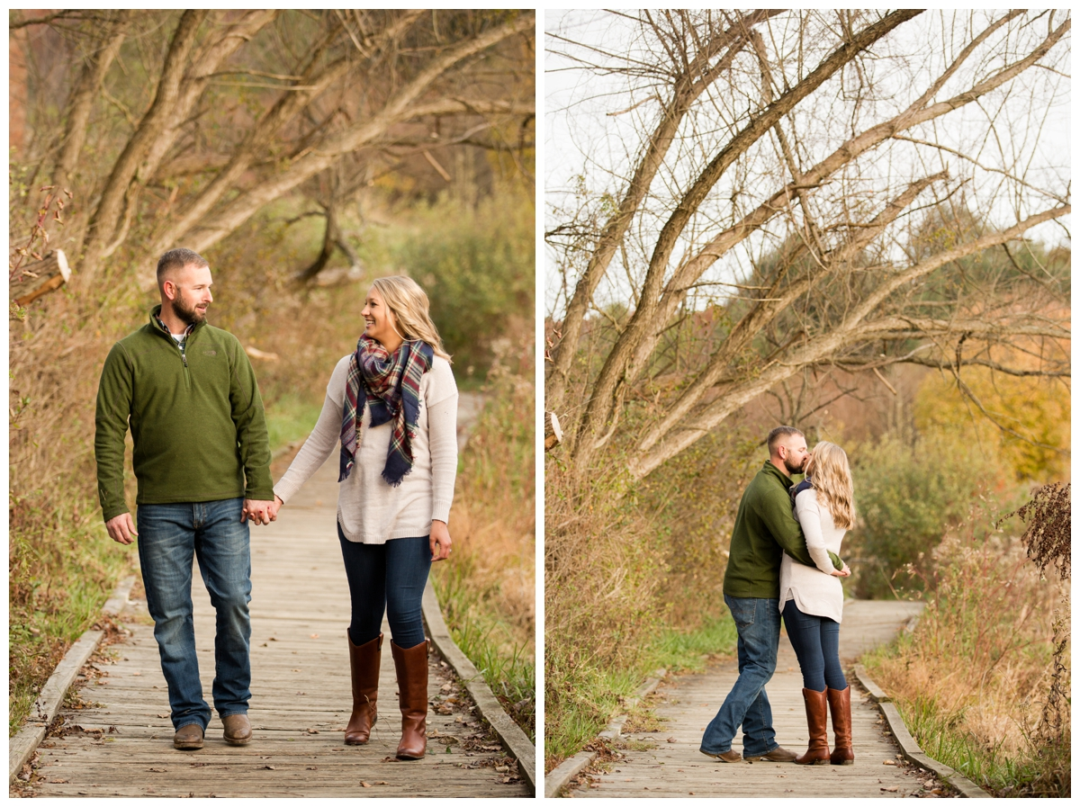 Fall Lake Hashawa engagement session. Couple walking down a bridge