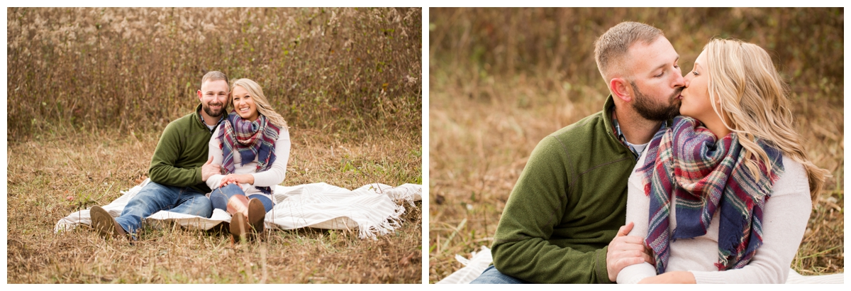 Fall Lake Hashawa engagement session. Couple on blanket