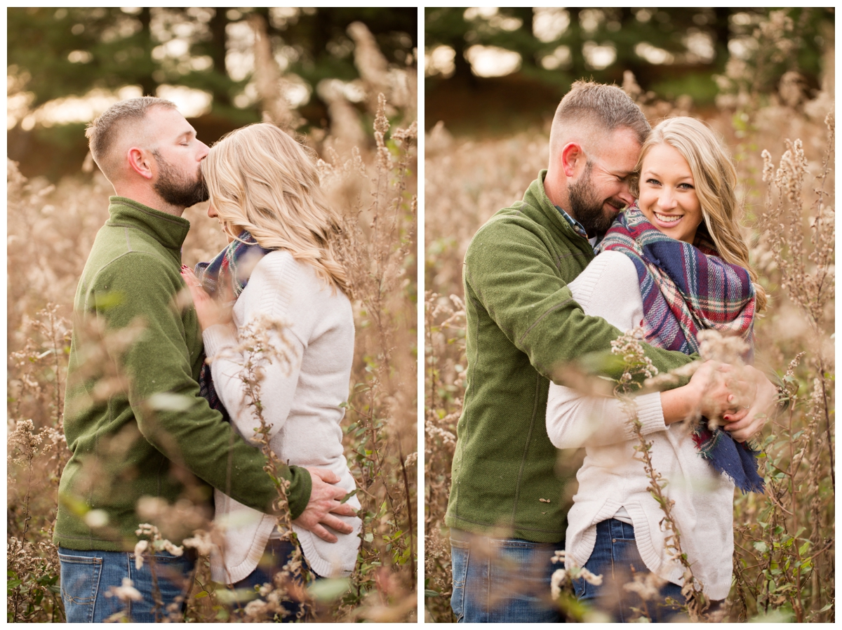 Fall Lake Hashawa engagement session. Couple snuggling