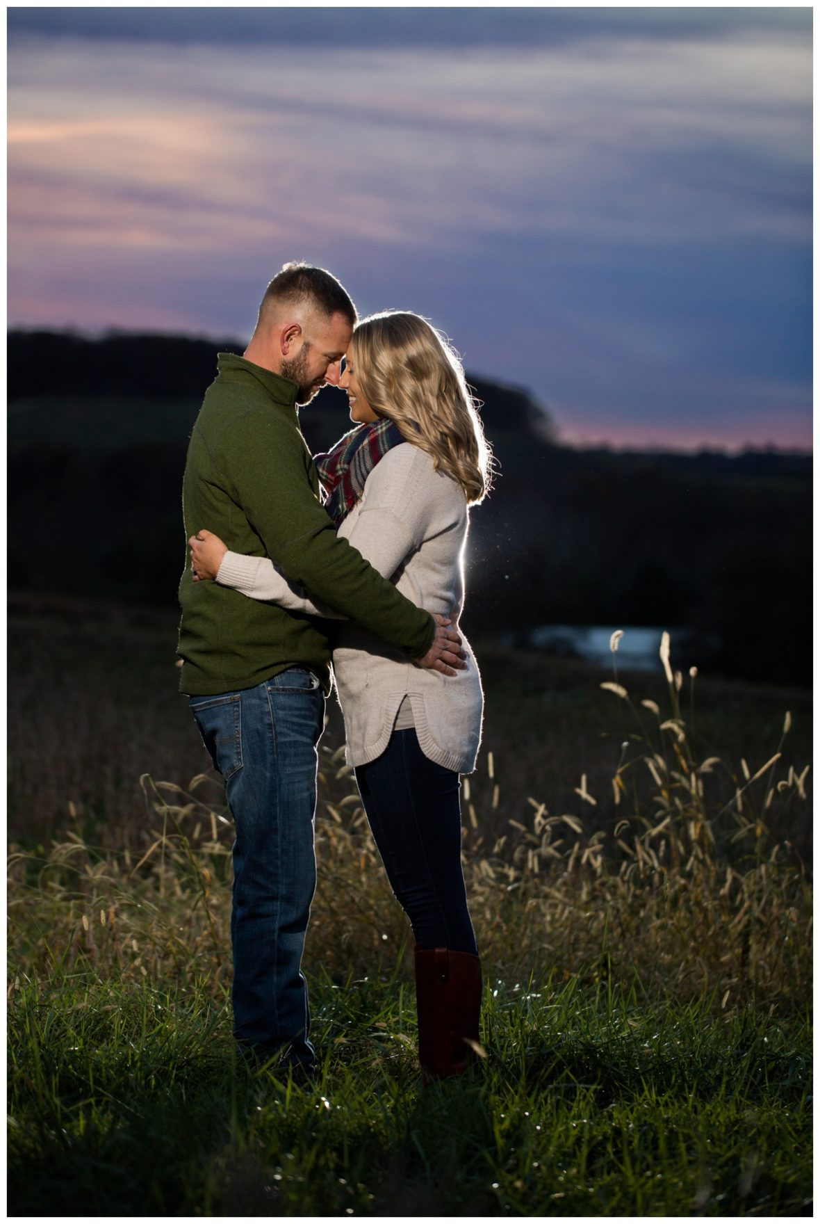 Fall Lake Hashawa engagement session. Couple at sunset