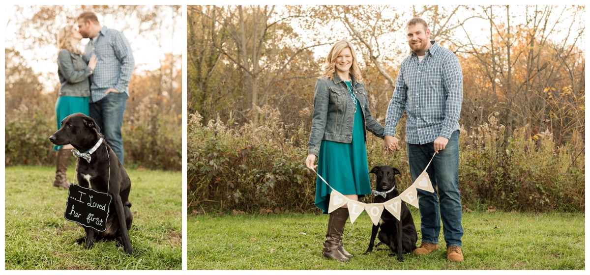 Fall Lake Hashawa engagement session. Couple with their dog and love sign