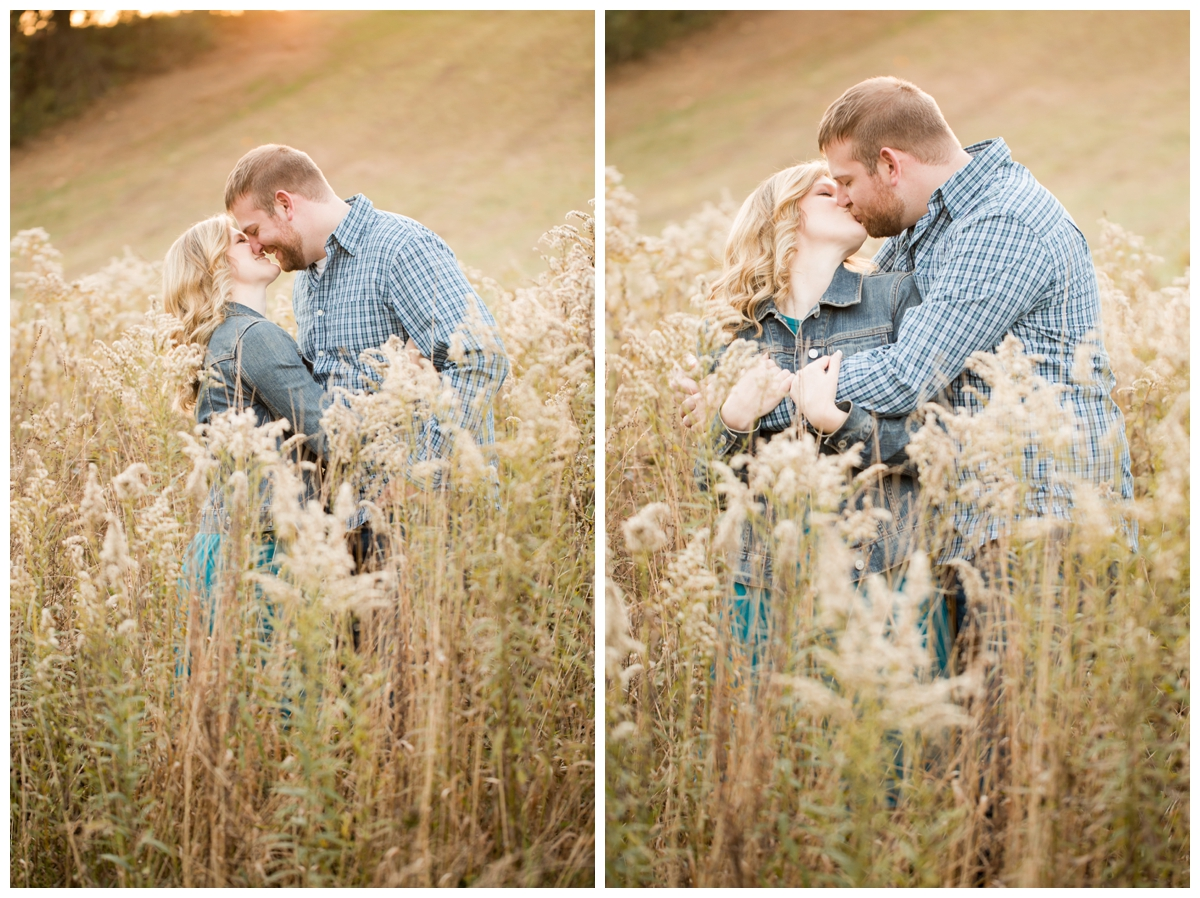 Fall Lake Hashawa engagement session. Kissing in a field