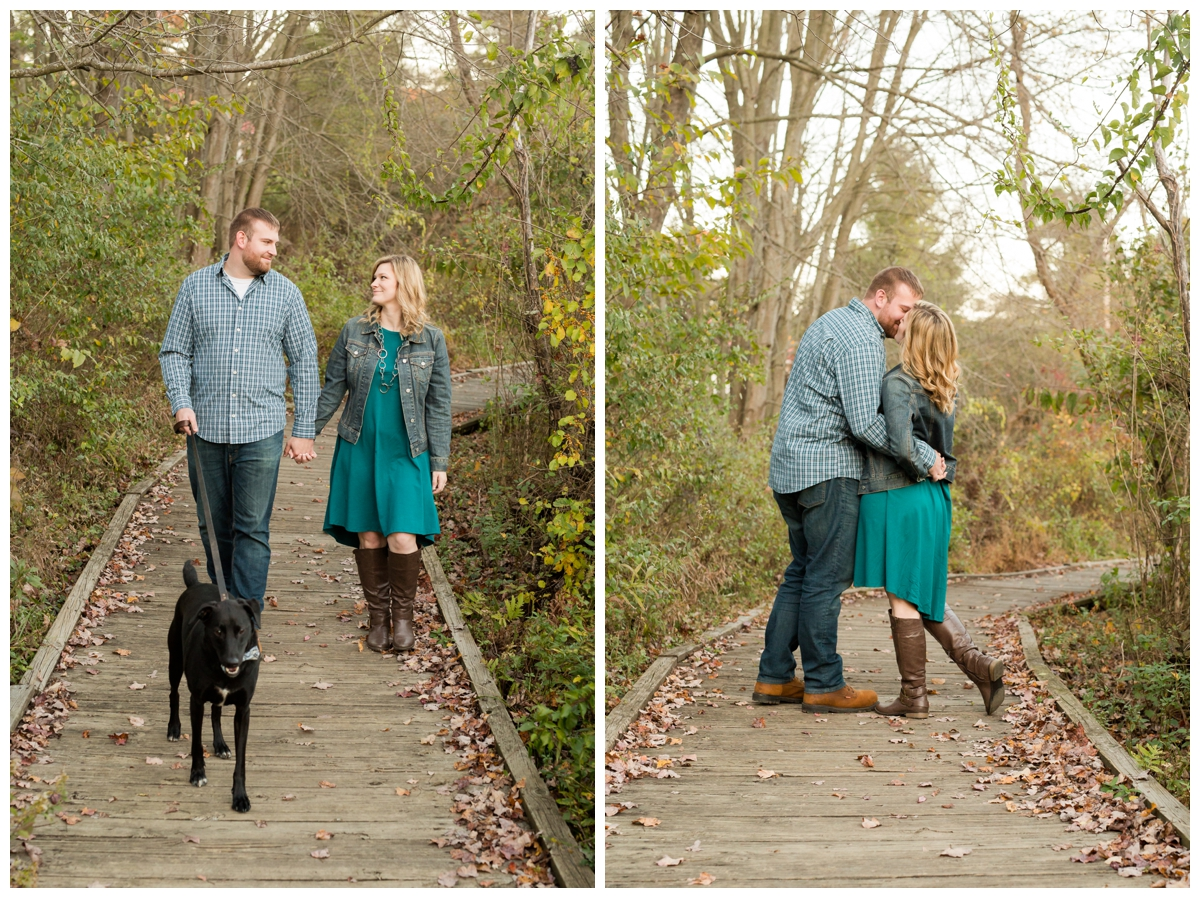 Fall Lake Hashawa engagement session. Couple with their dog.