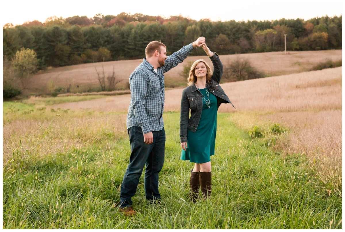 Fall Lake Hashawa engagement session. Dancing in a field