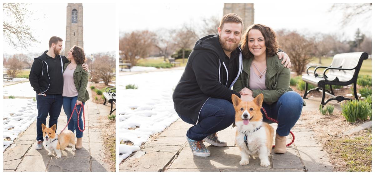 Engaged Couple with Corgi Disney Themed Frederick Maryland photos