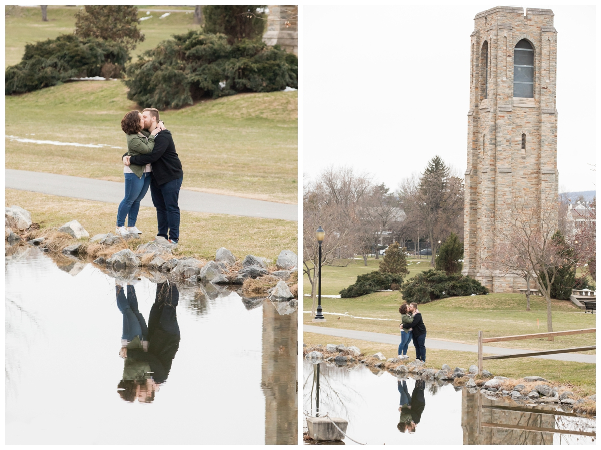 Engaged Couple with Disney Themed Frederick Maryland Engagement Photos by the tower and canal.
